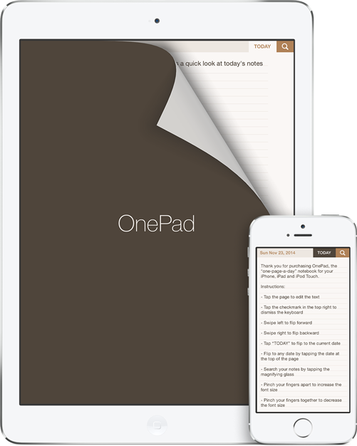 OnePad on iPad and iPhone